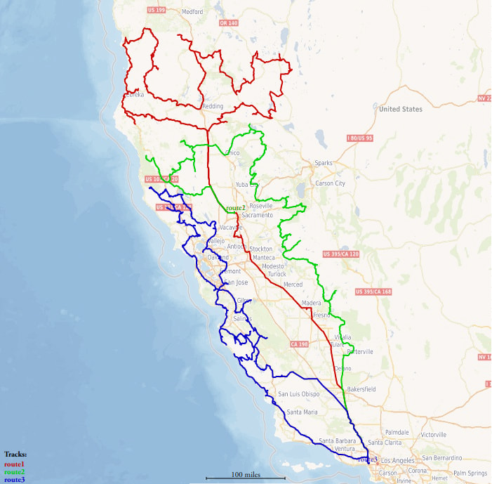 A map showing a solution to the vehicle routing problem in  California